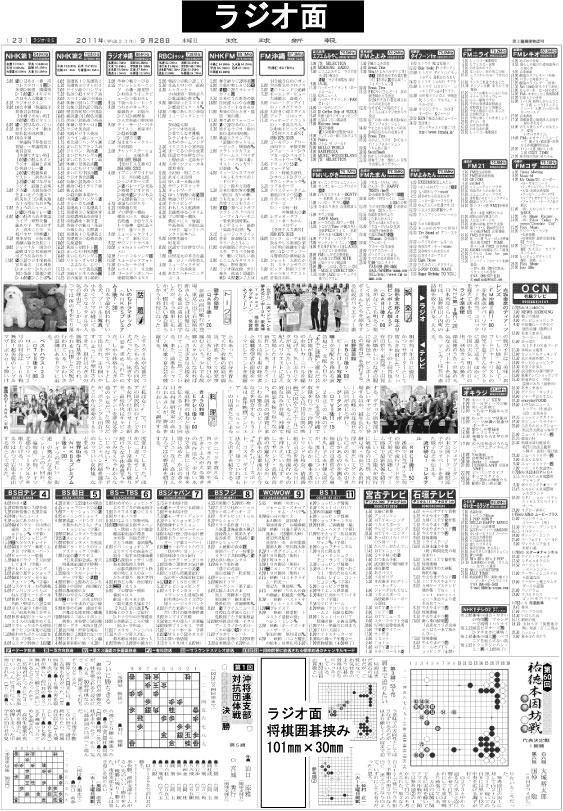 琉球新報のラジオ面広告掲載面