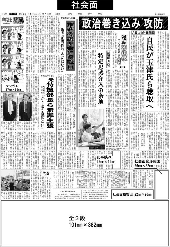 琉球新報の社会面面広告掲載面